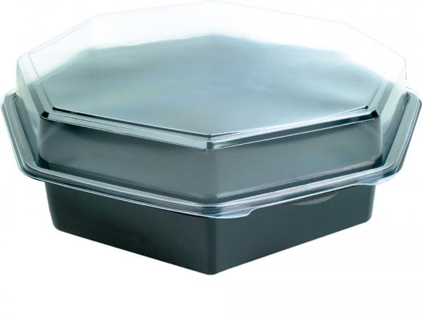 DUNI Octaview Boxen mit anh. Deckel PS 305 x 315 x 80 mm 2500 ml schwarz(149874)