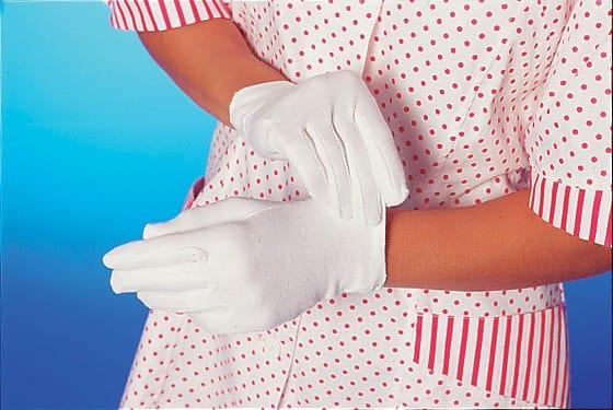 "25 x 12 Paar Baumwoll-Handschuhe ""blanc"" S"