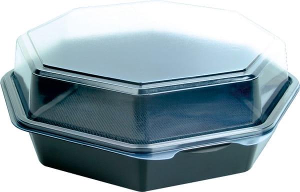 DUNI Octaview Boxen mit anhängendem Deckel PS 230 x 230 x 80 mm 1300 ml schwarz