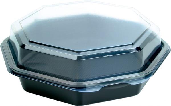 DUNI Octaview Boxen mit anh. Deckel PS 190 x 190 x 60 mm 640 ml schwarz (127800)