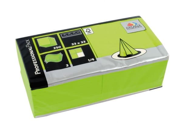 Zelltuch-Servietten 33 x 33 cm 3-lagig 1/4 Falz lime green