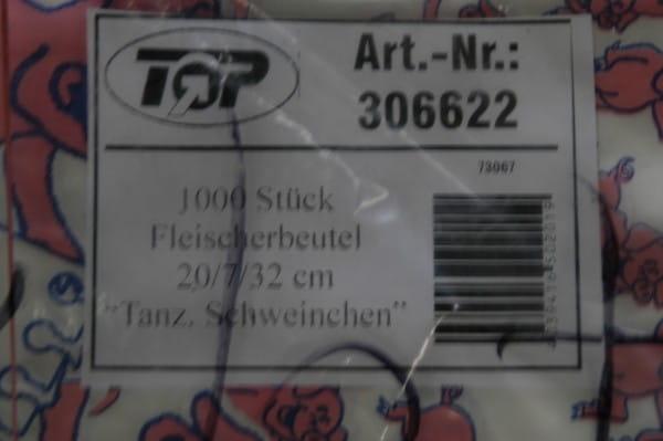 """1000 Fleischerbeutel 20/7/32 """"Tanzschwei"""
