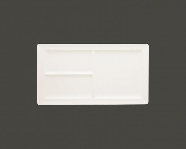 RAK Platte rechteckig m. 3 Flächen 38,8x21,3 cm Höhe: 2,3 cm CLASSIC GOURMET