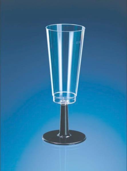 Sektgläser mit schwarzem Fuß 2-teilig 0,1 l glasklar