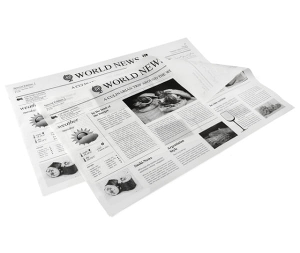"""Pergamentersatz 1/8 Bögen Einschlagpapier fettdicht """"Zeitungsmotiv"""" weiß"""
