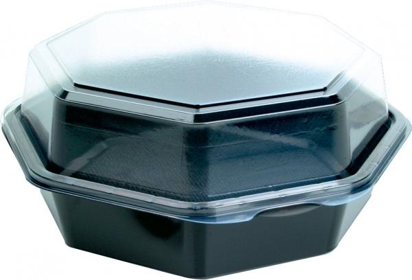 DUNI Octaview Boxen mit anh. Deckel PS 190 x 190 x 80 mm 850 ml schwarz (127801)