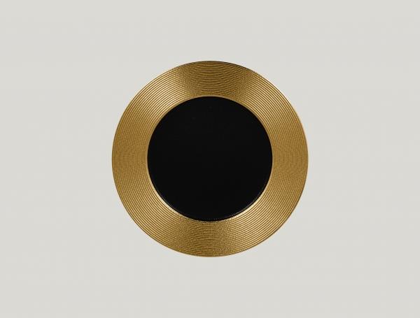 RAK Teller flach rund mit Relief-Dekor D. 27 cm H. 2 cm METALFUSION gold