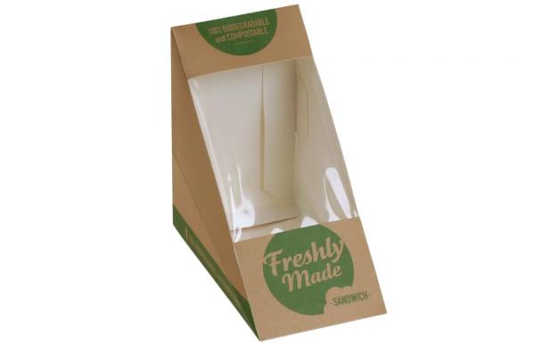 Sandwichverpackung biologisch abbaubar Kraft/PLA 123x72x123 mm grün/braun