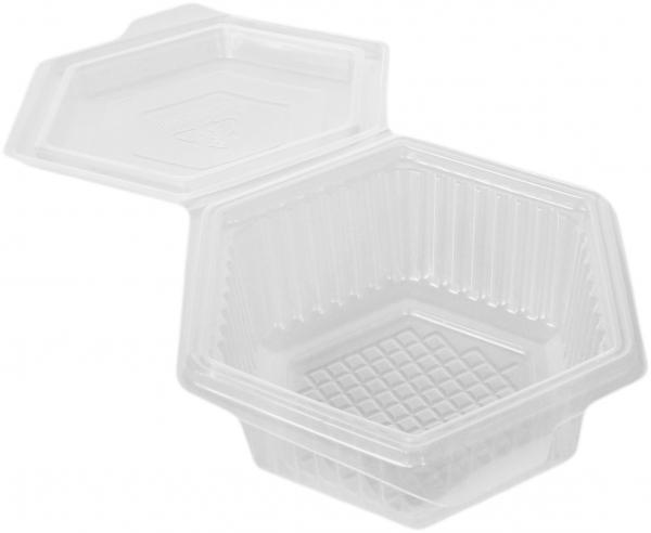 Haushaltsboxen PP 250 ml 6-eckig mit anhängendem Deckel