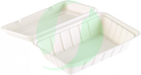 DUNI Menübox Bagasse m. anhängendem Deckel 239 x 156 x 63 mm 850 ml weiß