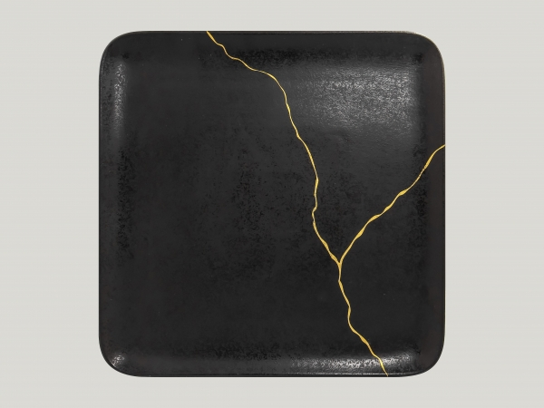 RAK Teller quadratisch L.30 cm Br.30 cm Schwarz/Gold KINTZOO (KZAUSP30G2)