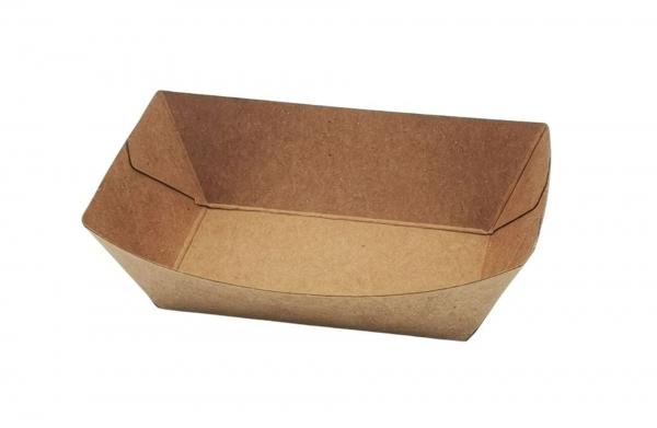 Food-Tray-Schiffchen Kraftpapier PE-beschichtet 10 x 7 cm braun 400 ml
