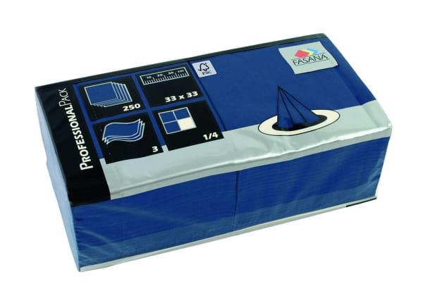 Zelltuch-Servietten 33 x 33 cm 3-lagig 1/4 Falz blau