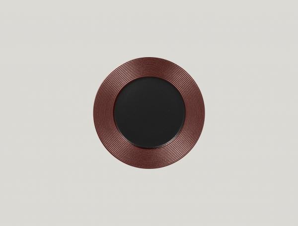 RAK Teller flach rund mit Relief-Dekor D. 22 cm H. 2 cm METALFUSION bronze