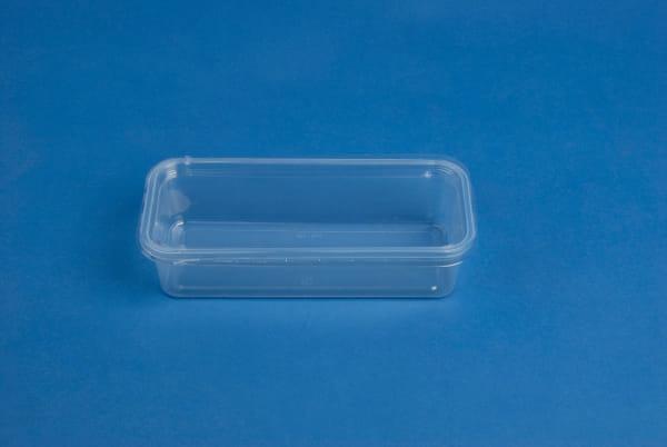Schalen PS 500 ml ECKIG 206 x 89,6 mm Höhe 50mm (360/500 ml) klar