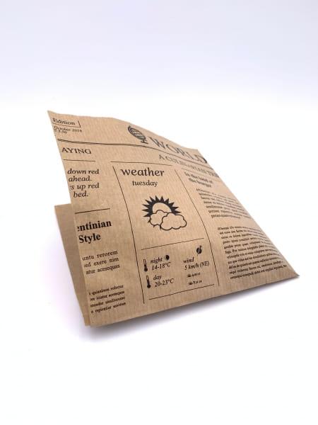 Perga-Snackbeutel Newspaper 2-Seitig offen 15 x 16 cm braun