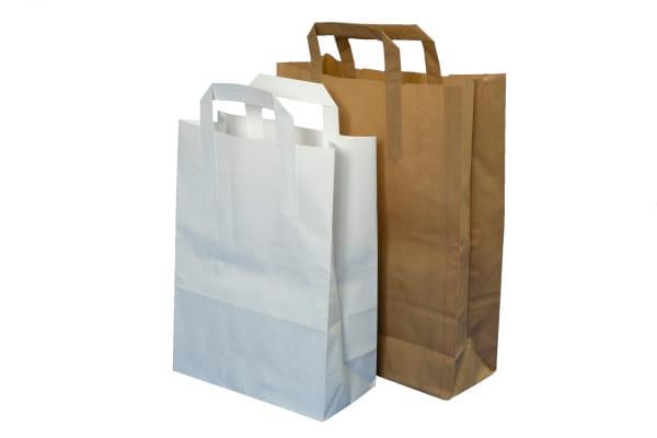 Papiertragetaschen 32 cm x 21,5 + 27 cm 80g/qm Kraftpapier weiß