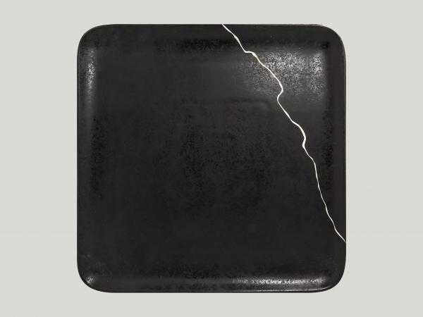 RAK Teller quadratisch L.30 cm Br.30 cm Schwarz/Silber KINTZOO (KZAUSP30S1)