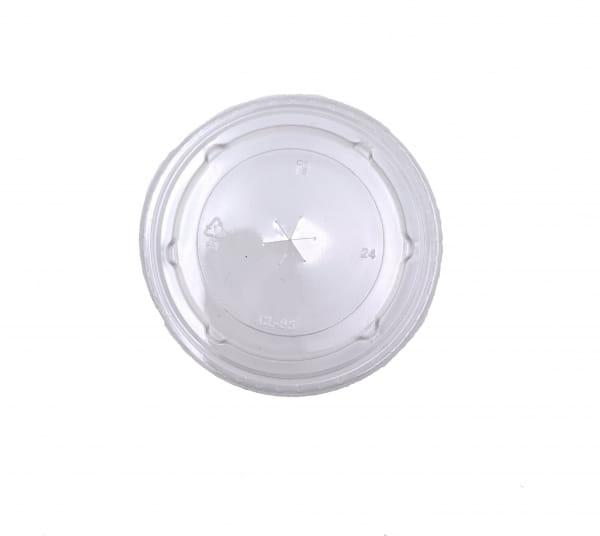 Flachdeckel PET mit Kreuzschlitz für Smoothiecups Ø 95 mm