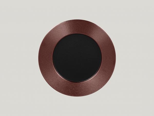 RAK Teller flach rund mit Relief-Dekor D. 29 cm H. 2 cm METALFUSION bronze