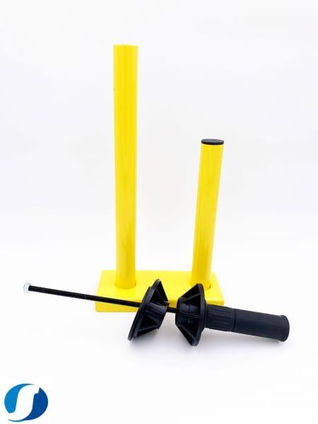 Abrollgerät für Paletten-Stretchfolie gelb