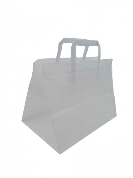 Papiertragetaschen 32 x 22 + 25 cm 80g/qm Kraftpapier weiß