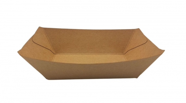 Food-Tray-Schiffchen Kraft PE-beschichtet 17 x 12,5 x 2,6 cm braun 400 ml