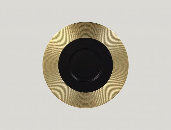 RAK Gourmetteller flach mit Relief-Dekor D. 29 cm H. 2 cm METALFUSION gold