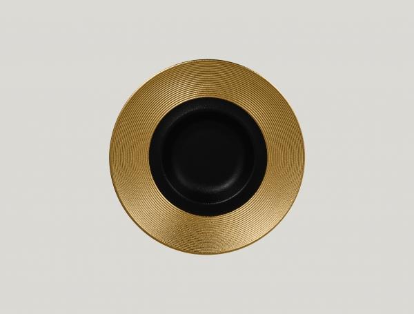 RAK Gourmetteller tief mit Relief-Dekor D. 26 cm H. 6 cm METALFUSION gold