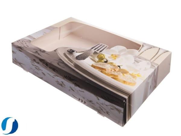 Cateringkartons mit Sichtfenster für Aluminiumservierplatte mittel