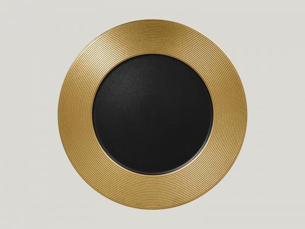 RAK Teller flach rund mit Relief-Dekor D. 33 cm H. 3 cm METALFUSION gold