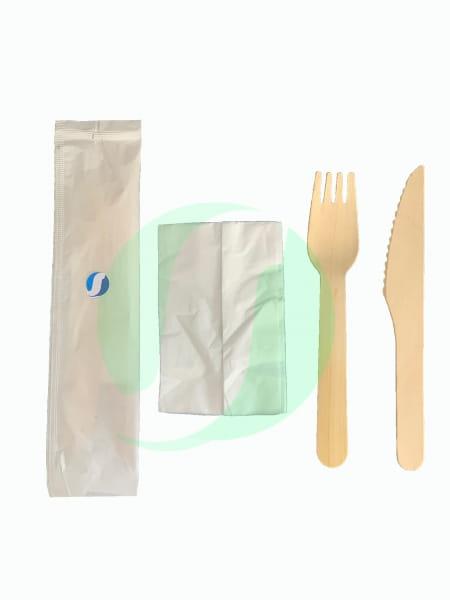 Bestecksets Holz Messer Gabel Serviette weiß