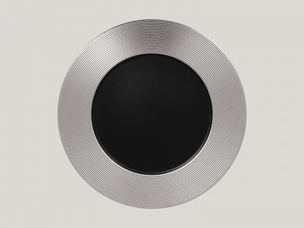 RAK Teller flach rund mit Relief-Dekor D. 33 cm H. 3 cm METALFUSION silber