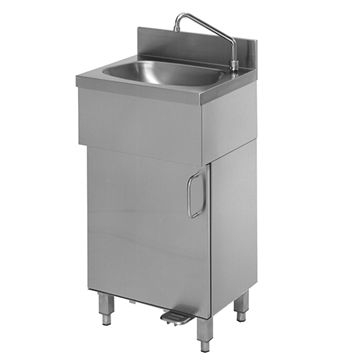 Handwaschbecken aus Edelstahl mit Unterschrank und 1 Flügeltüre